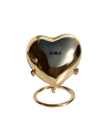 Classic Brass Gold Keepsake Urn With Stand for Human Ashes by Handicrafts World Corporation India