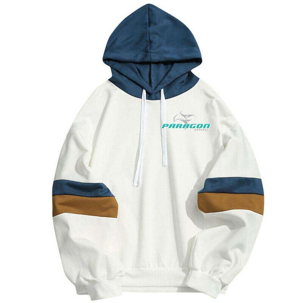Custom made white body with sky hood pullover, men slim fit customized wholesale fleece hoodies, latest design sports multi hood