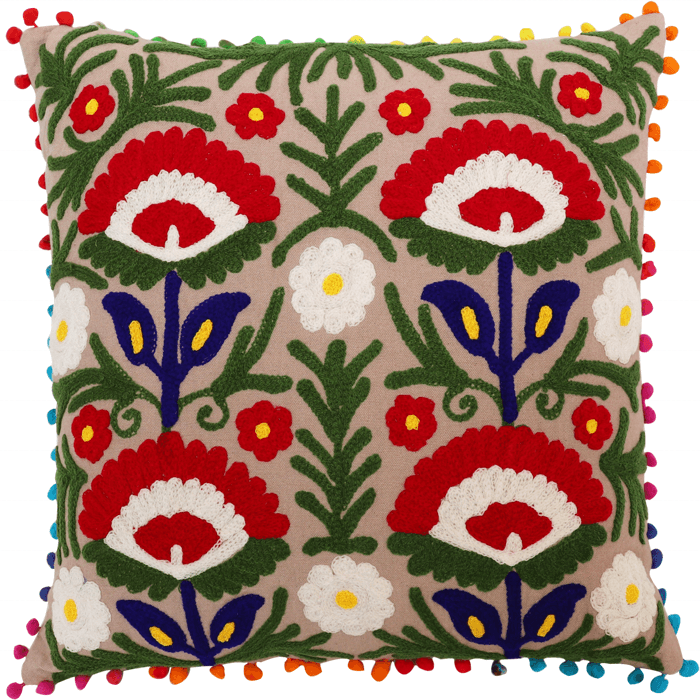 Comfortable Mexican Style Chain Stitch Purple Floral Aari-Embroidered Cotton Cushion Cover Handmade Vintage Home Decor Pillow Ca