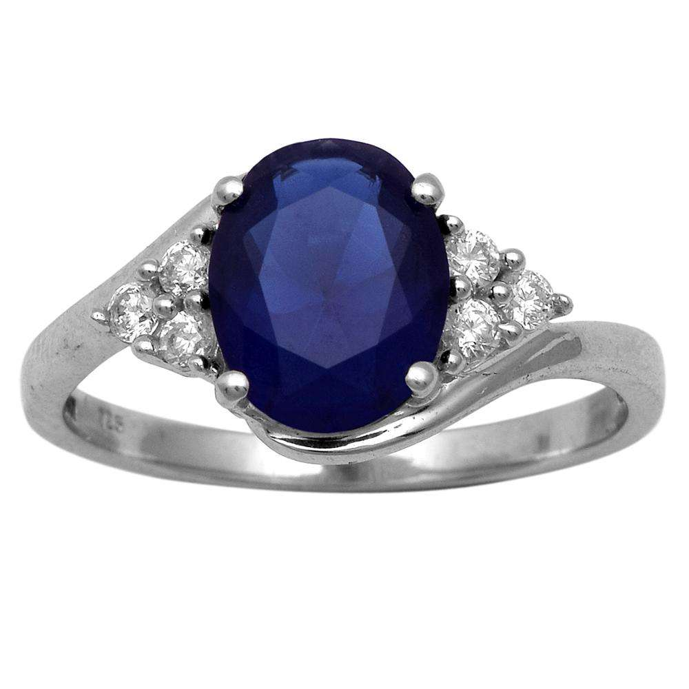 Shine Jewel 2.95 Ctw Created Blue Sapphire with 925 Sterling Silver Classic Ring