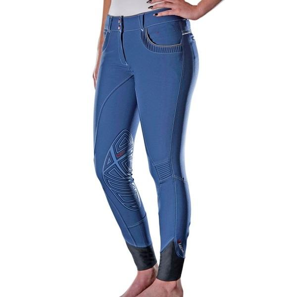 Bleu Micro Tissé <span class=keywords><strong>Euro</strong></span> coupe motif Élastique bas Culottes D&#39;équitation Silicium Genou Patch