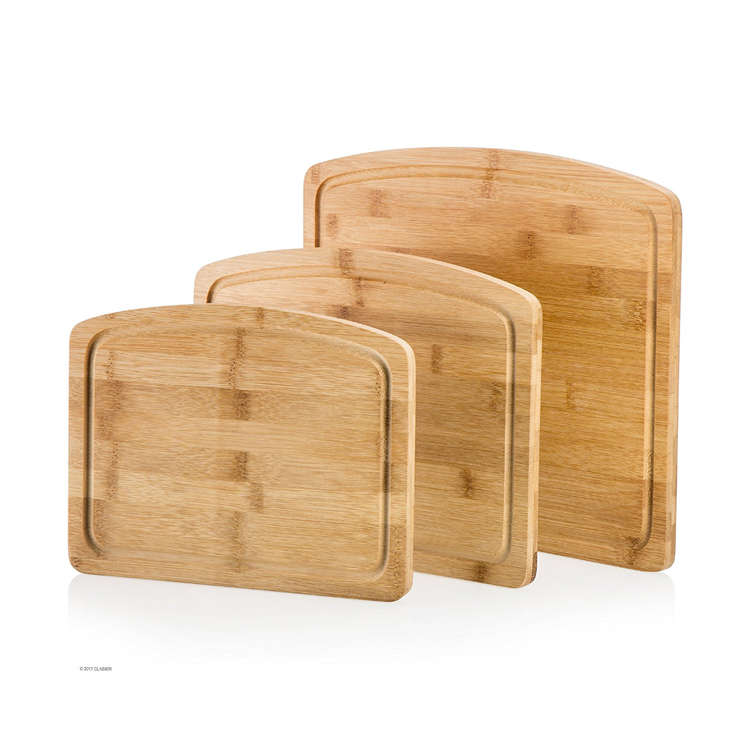 Kitchen [ Chopping Board Set ] Bamboo Cutting Chopping Board 3 Piece Set With Juice Groove