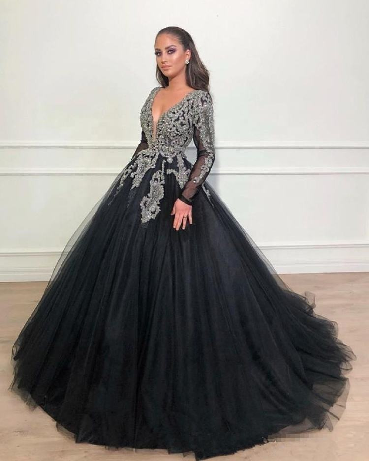 African Deep V Neck Luxury Beading Crystal Formal Arabic Evening Black Ball Gown Prom Dresses