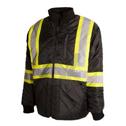 Men's Large Black High Visibility Quilted And Lined Reflective Safety Freezer Jacket