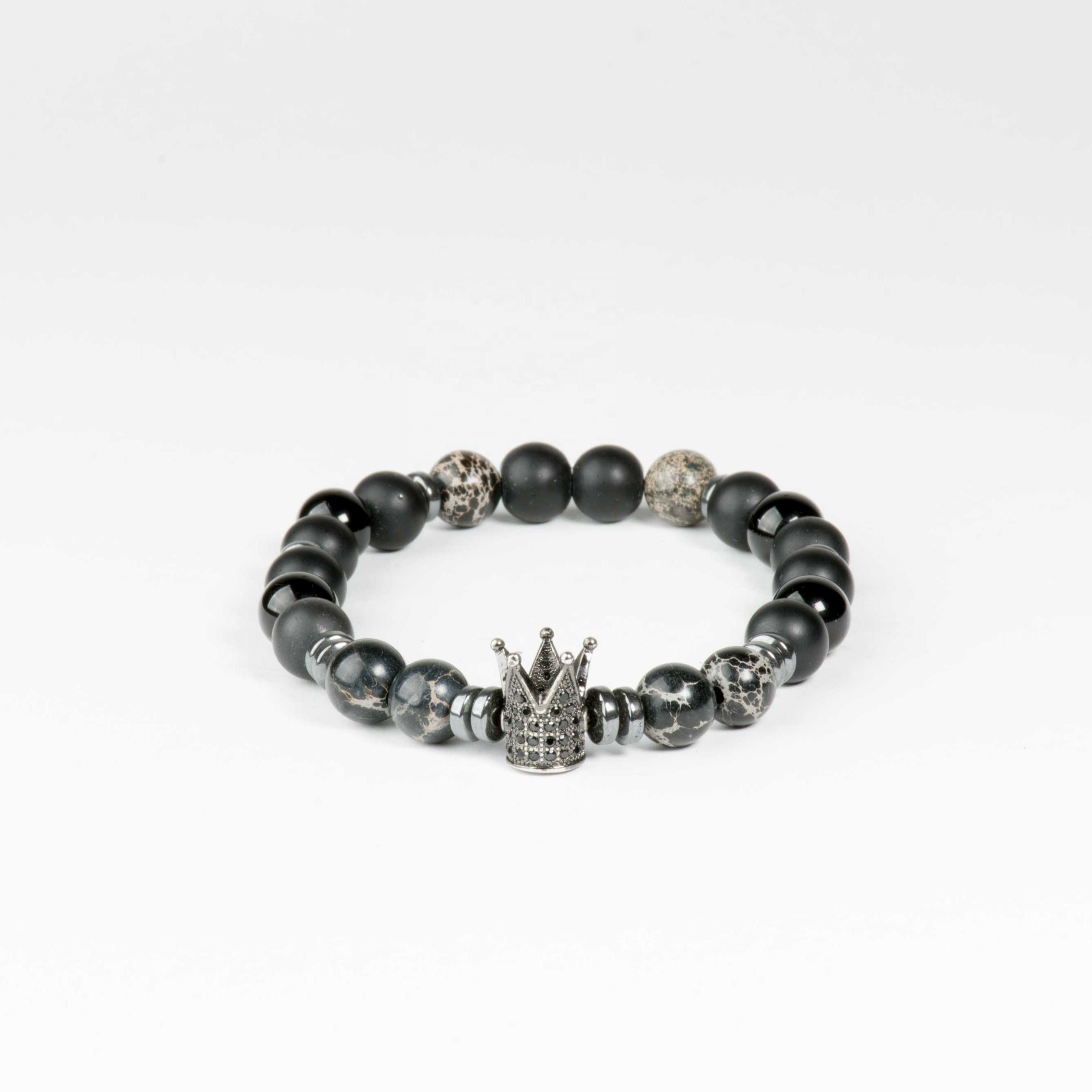 High Quality Best Price Stylish Black Agate and Onyx Zirconium King Crown Charm Beaded Bracelet