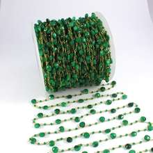Chain Jewelry Making Faceted Emerald Gemstone 2 mm Rosary Beaded Chain 925 Sterling Silver Beaded Chain