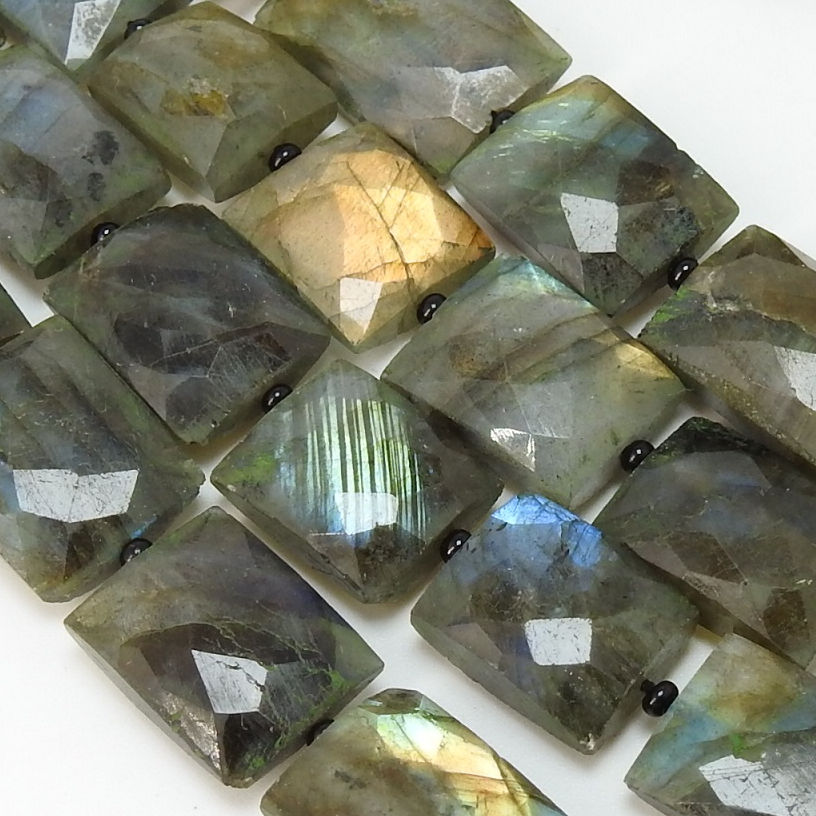 18 Pieces Strand Natural Labradorite Cross Drill Faceted Baguette Rectangle Shape Beads Wholesale Price New Arrival