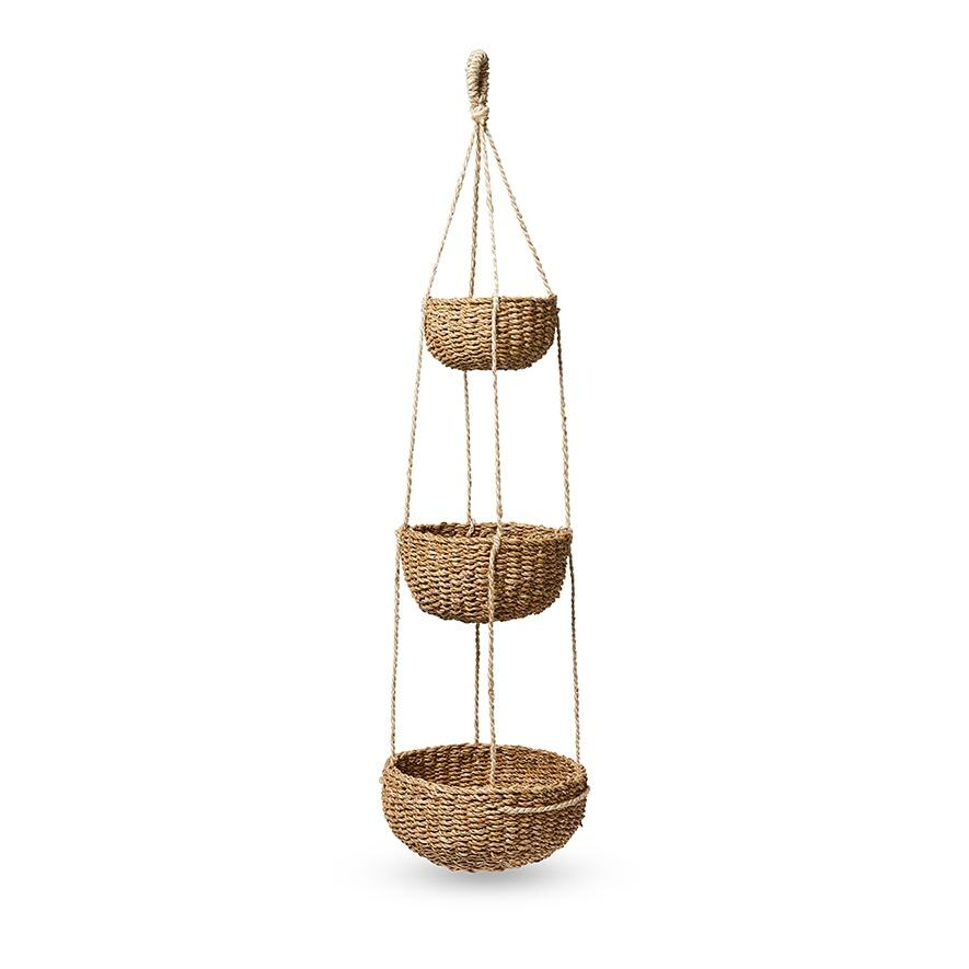 Natural eco friendly 3 tier seagrass fruit hanging baskets