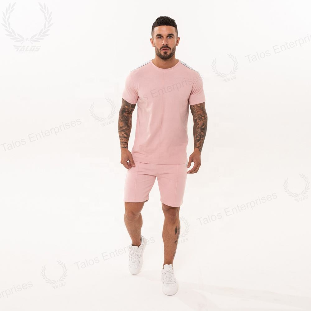 High quality mens short sleeve summer tracksuit/Sports tracksuit beach wear short sets t shirt with shorts twin sets