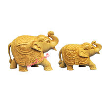 Indian souvenir wood carving hand carved elephants woods crafts