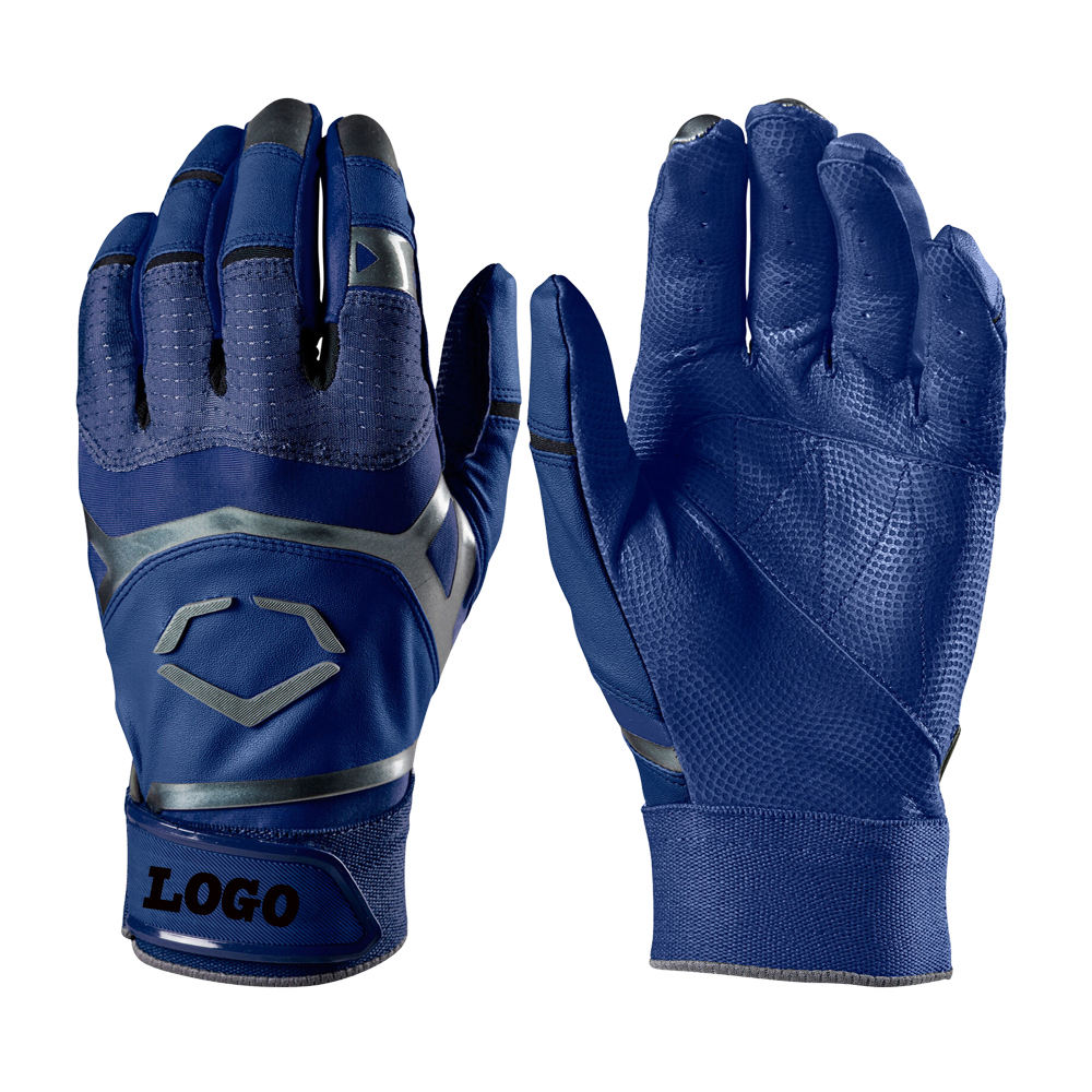 OEM Service Royal Blue PU Leather Baseball Batting Gloves Youth