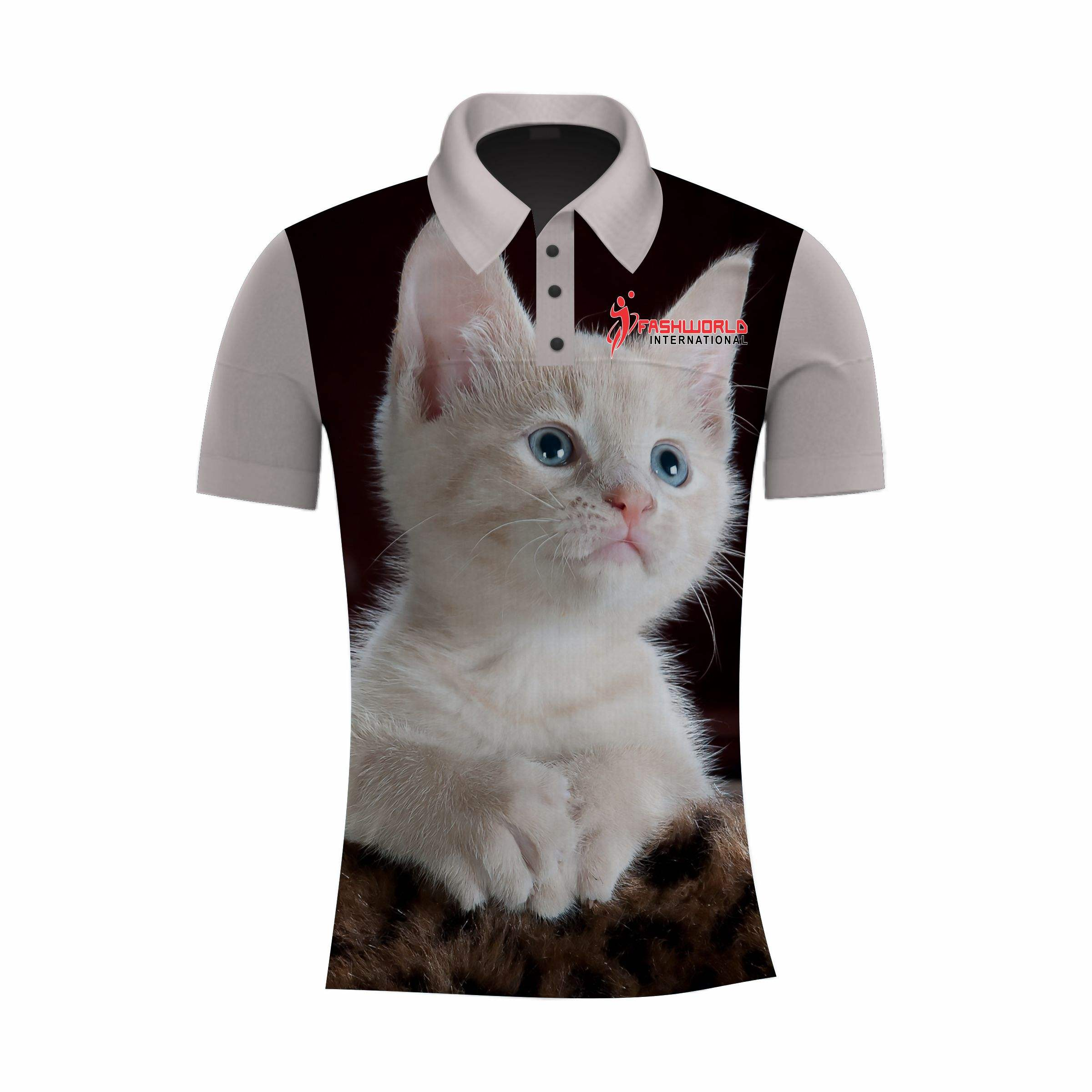 Wholesale Cheap Sublimated Custom Sport unisex cat printed Polo Shirt