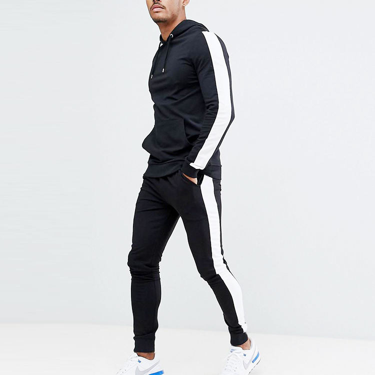 Design Your Own Tracksuit 2018 Custom CLothing Two Piece Sets Mens Fitted Black Tracksuit With Side White Stripe