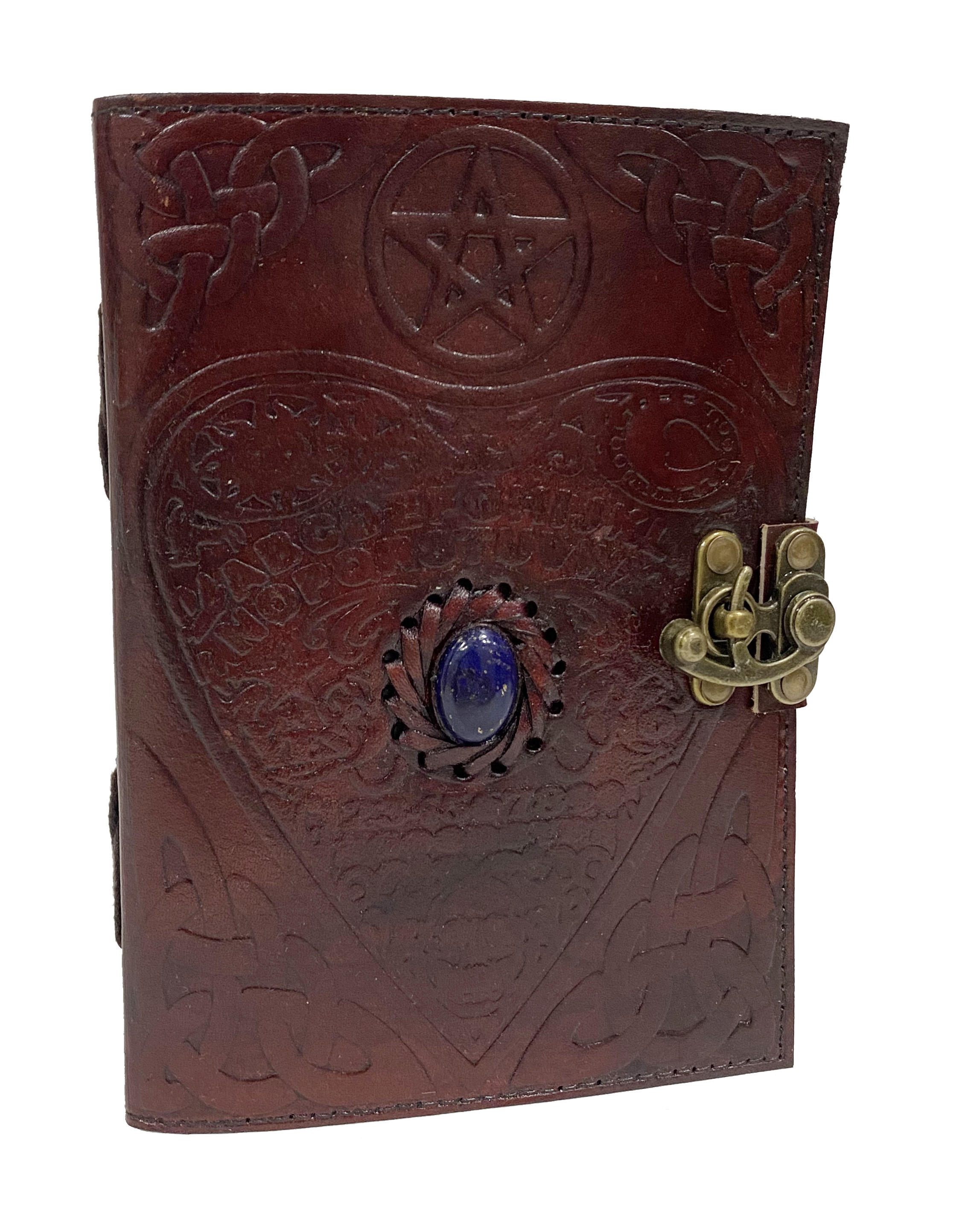 Book Of Shadows Leather Journal Celtic Love Heart Embossed With Third Eye Stone Handmade Notebook & Sketchbook