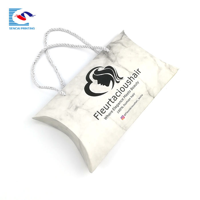 Custom wholesale matte pillow box with rope handle for hair packaging
