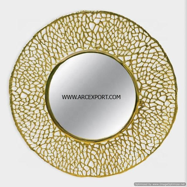 gold plated latest design wall mirror