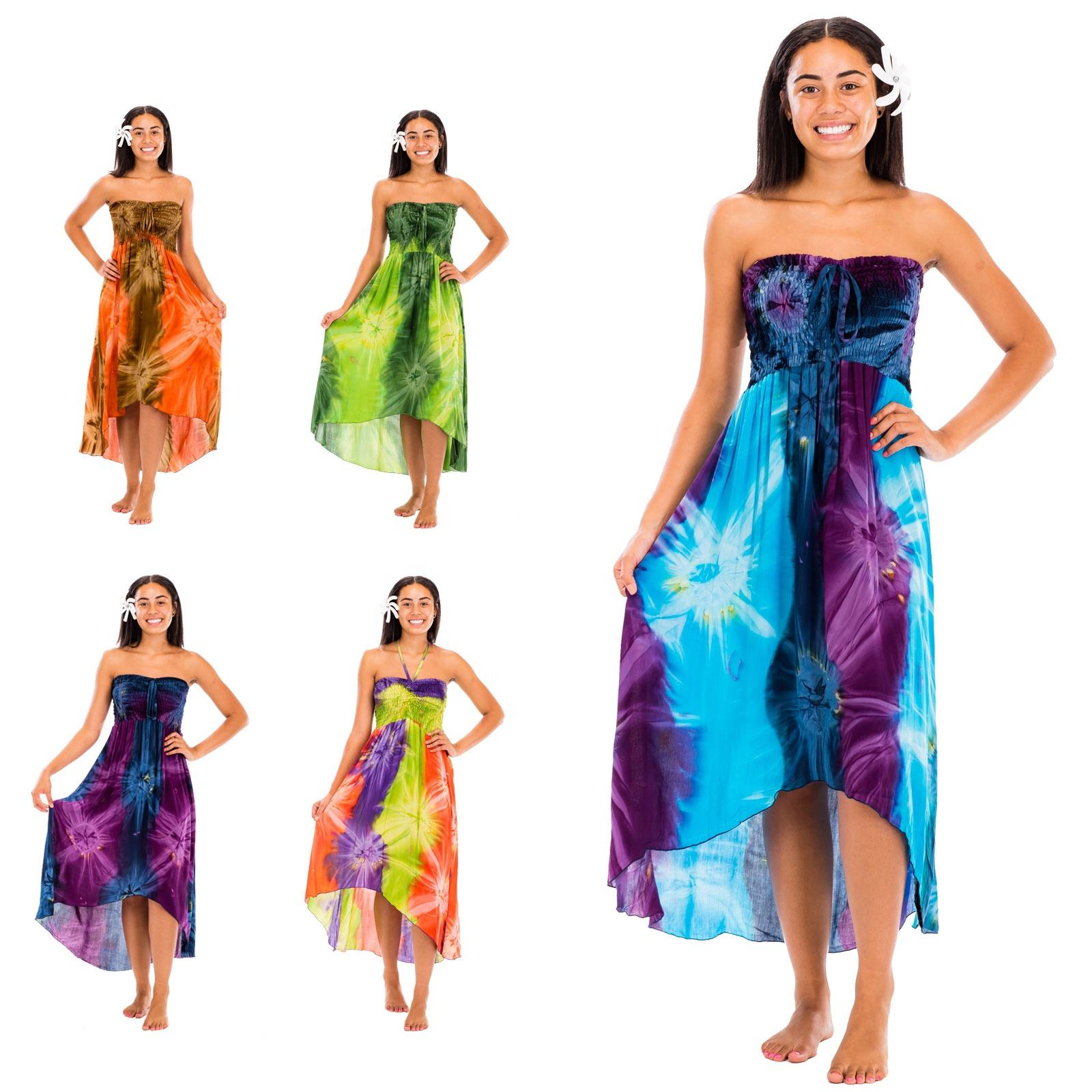 New fashion boho woman tie dye casual unbalance beach dress