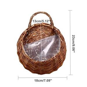 Wall Rattan Hanging Planter, Natural Wicker Braided Hanging Flower Pot Hand Woven Rattan Planter
