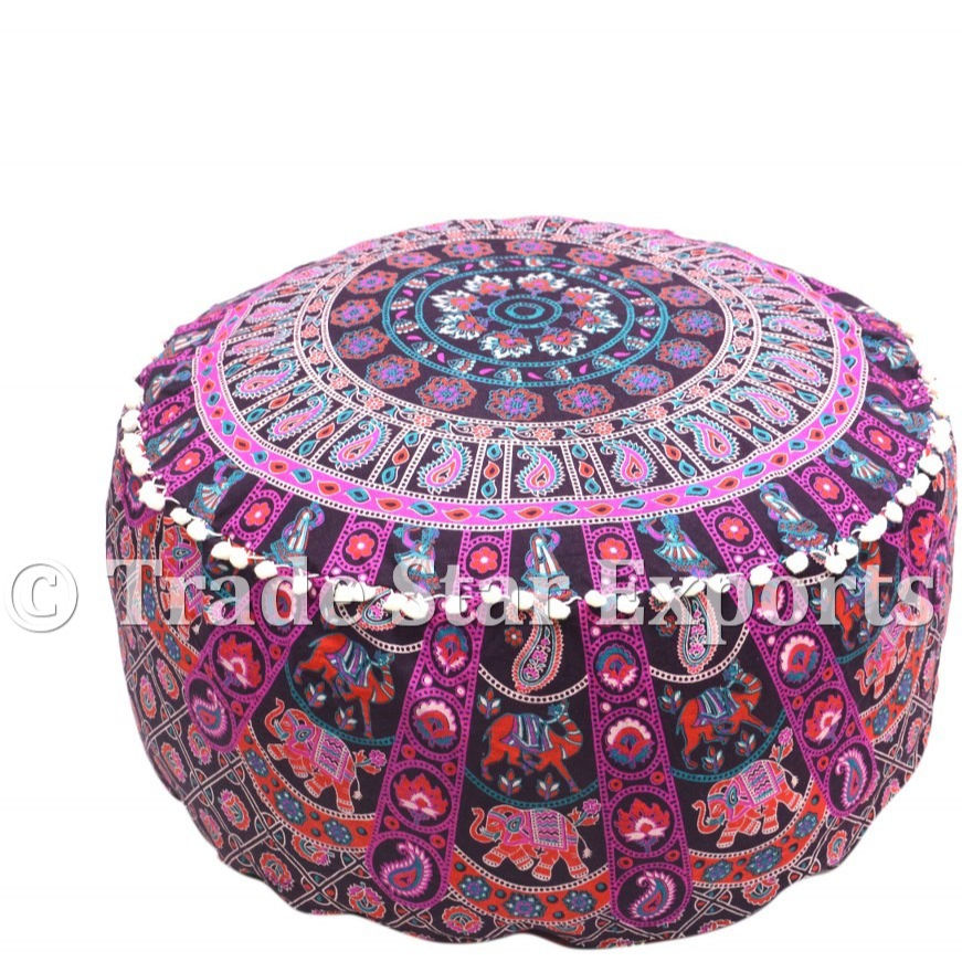 Indianタペストリー生地プーフカバー曼荼羅パフリビングプーフオットマンMandala Pouf Cover Cotton Printed Ottoman Pouf Cover