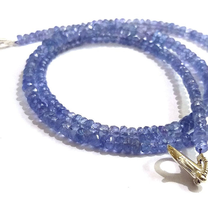 Tanzanite Beads Jewelry Necklace、Natural Tanzanite 3-4ミリメートルApprox、Rondelle Faceted Jewelry Necklace With Adjustable Chain