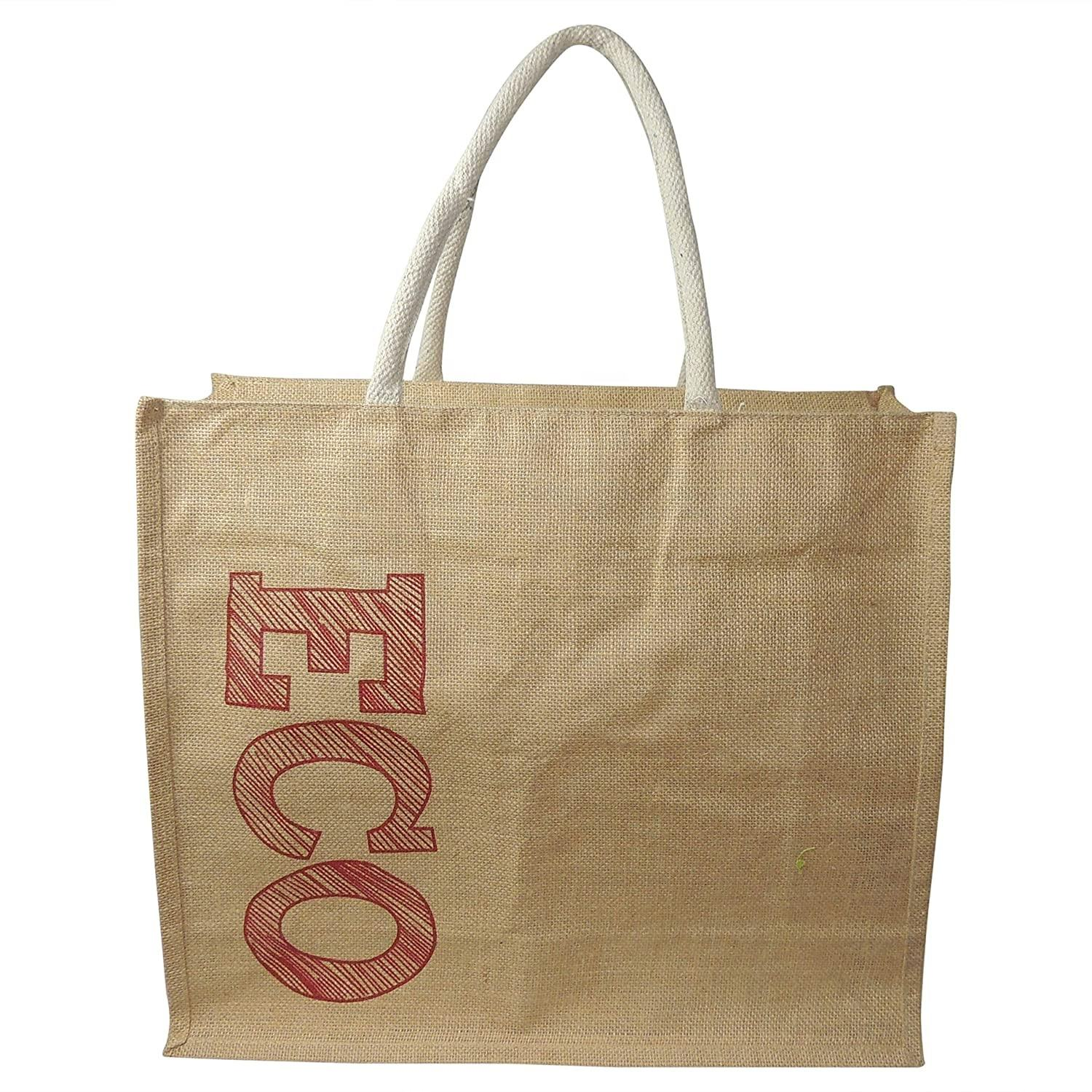 Natural Burlap Plain Jute Shopping Tote Bags