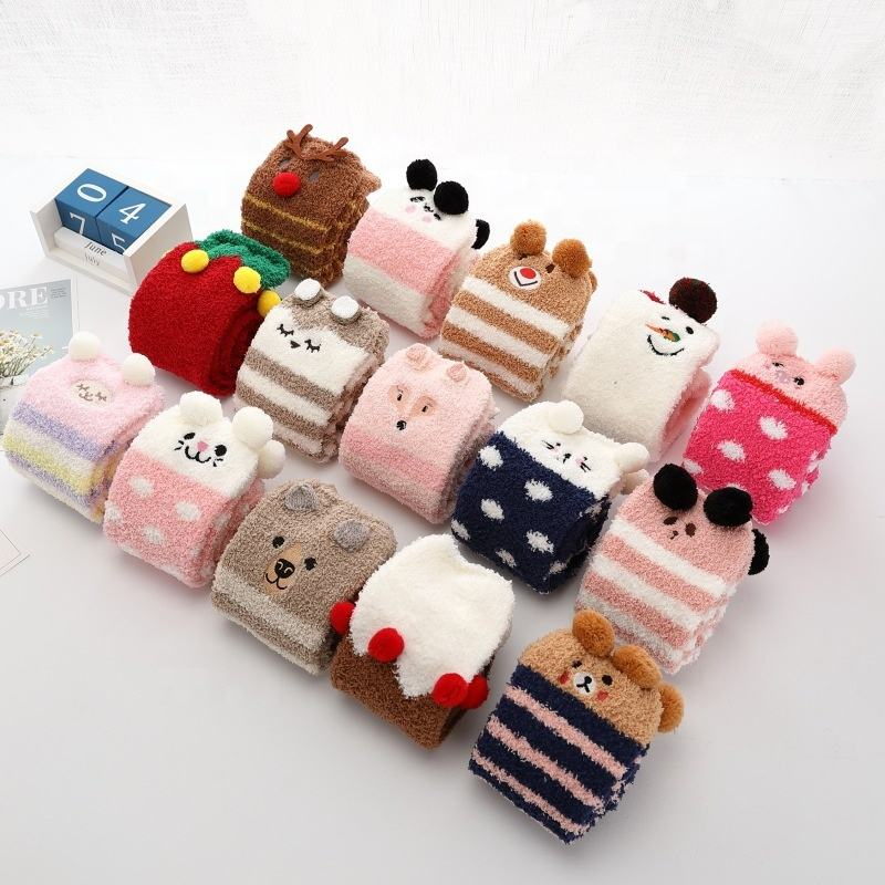 Autumn and winter brushed half cozy socks embroidered cartoon socks coral female home socks