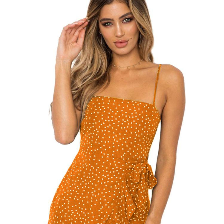 beach casual newrest dress summer style polka dot dress with slip for women