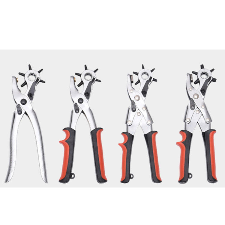 Heavy Duty Revolving Leather Punch Puncher Pliers Hold Tool Set Kit for Belts US