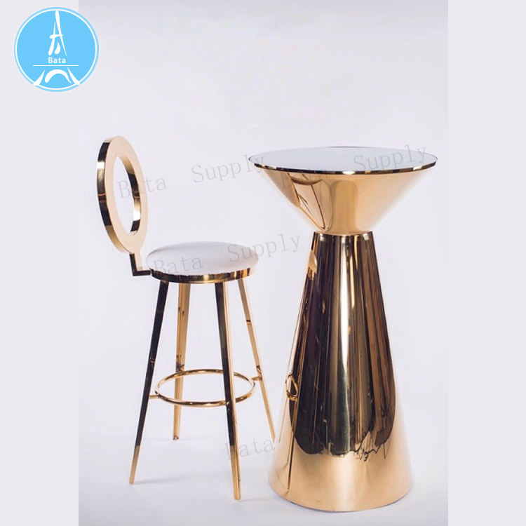 Party Furniture Small Round Size Customized Brighten Center Gold Bar Table