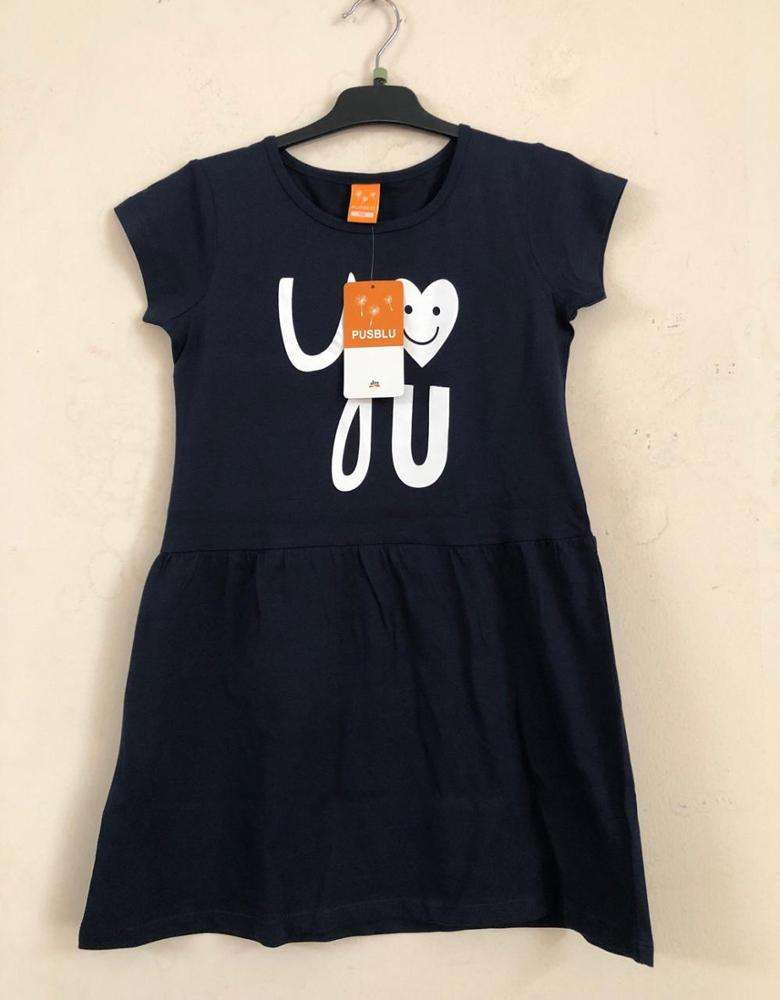 Bangladesh Apparel Stock Lots/Overstock Branded Labels Girls Kids Short Sleeve Casual Cotton Knitted Frock Outwear Ruffle Dress