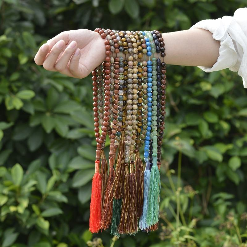 Cliobeads wholesale Turkish tespih handmade jewelry, natural stone tiger eye Islamic Misbaha Prayer beads tassel necklace