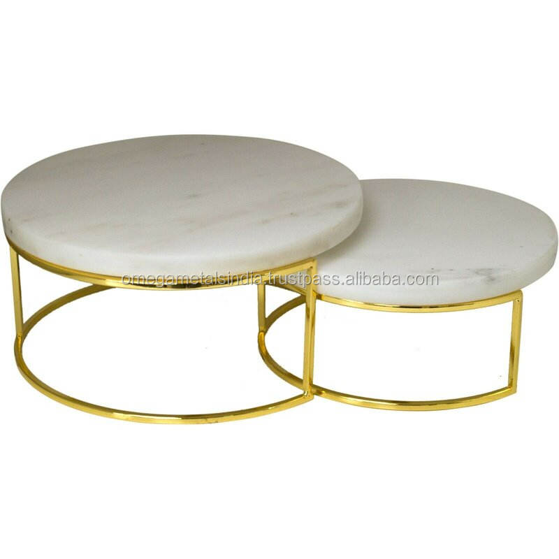 Hot Selling Metal & Marble Cake Plate and 1 Tier Cake Stand Set of 2