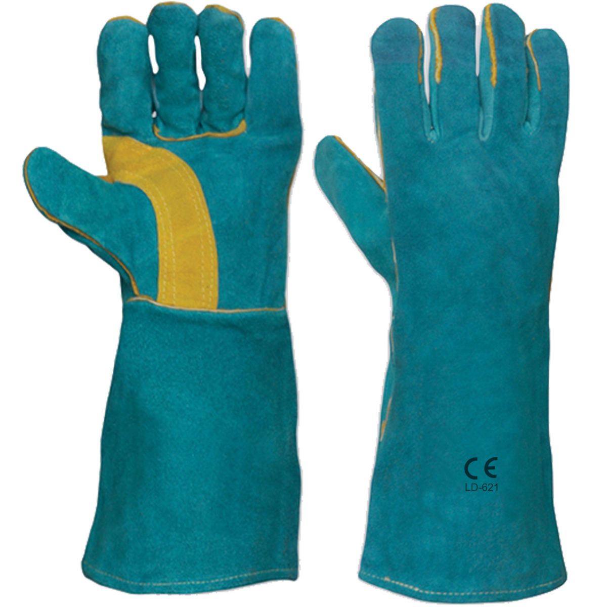 Cow Split Welding Gloves Yellow Blue 16 Inch Sturdy Heat Resistant Fire Resistant Premium Cow Split Leather TIG Welding Gloves