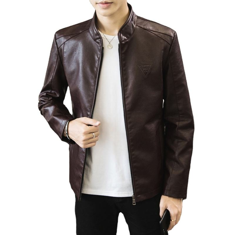 Men's Autumn And Winter Fur Collar Thickening Slim Plus Velvet Jacket leather fur jacket leather jacket men