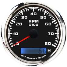 85mm black face 8000 RPM electrical tachometer with hour meter