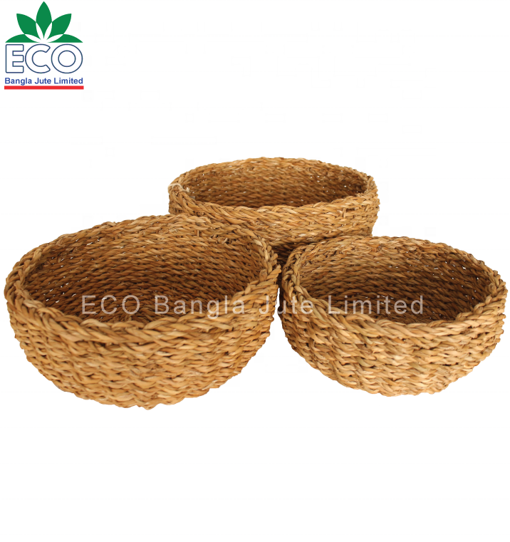 Customized Seagrass Organizer Storage Basket Handmade Rattan Fruit Basket Set.
