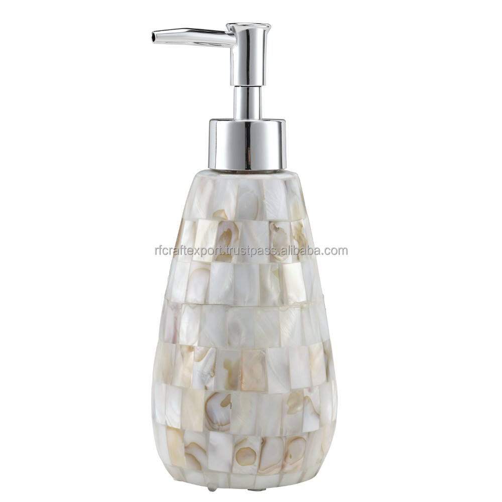Mother of pearl Lotion pump soap dispenser bathroom accessory set