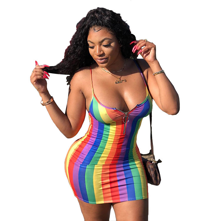 Iridescent Color Striped Bodycon Sexy Sleeveless Dress