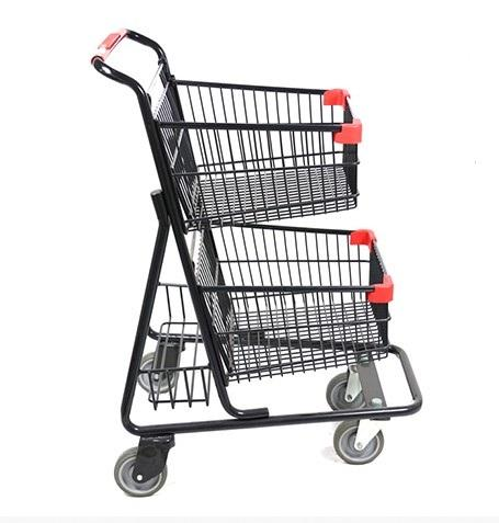 [ Trolley ] Trolley Shopping Cart MOQ 100 PCS Width 22 Inches America Hot Sale Double Baskets Shopping Trolley Cart 2 Layers Food Push Cart For Grocery Stores