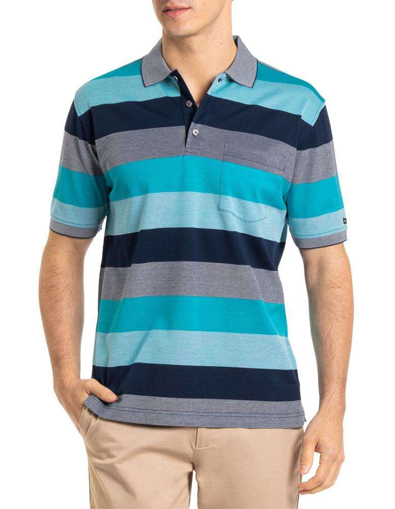 Bangladesh Factory direct sale Double Mercerised Cotton Men Striped Polo Shirt