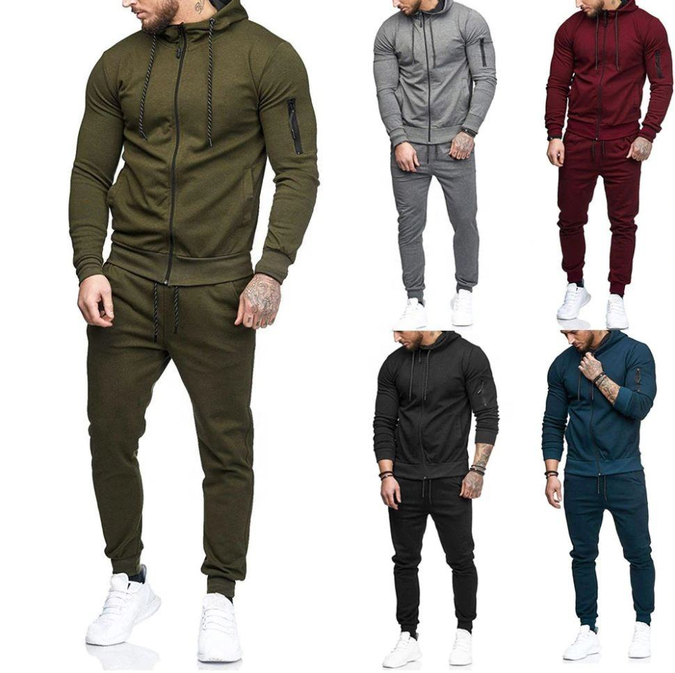 New deign 2020 Men tracksuit high quality workout hoodie and trouser slim fit Jogger pant for men Running wear winter clothes