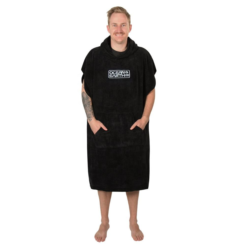 Ready To Ship Luxury Custom Logo 100% Cotton Velour Adult Black Towel Surf Poncho