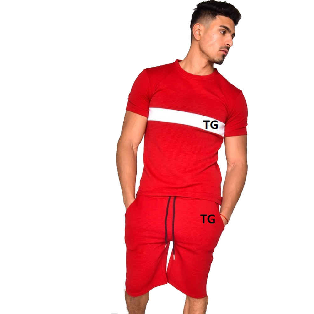 2020 New Summer Men'S Tracksuit Men Set Clothing 2018 Short Sleeve T Shirts Two Piece Tops+ Shorts Suit Sportswear Set