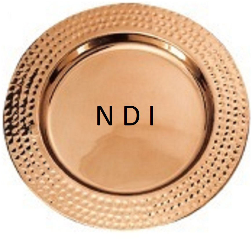 "Hammered Copper Polished Round Table Decor Charger Plate 13"" for Home & Wedding Decor from India"