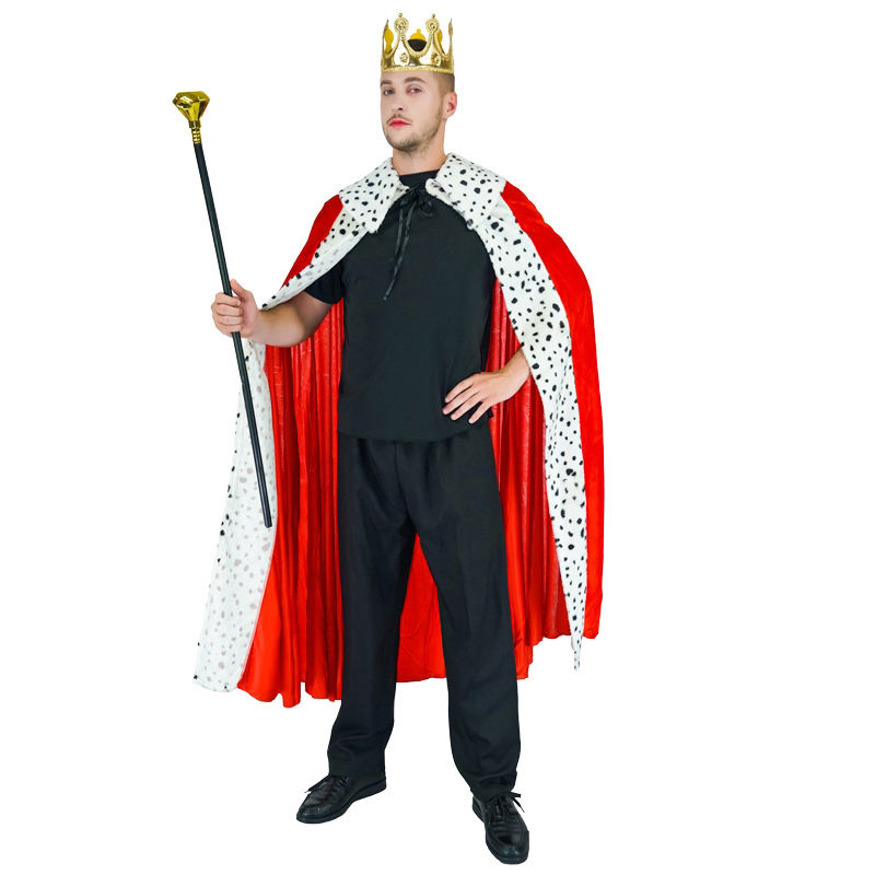Carnival Masquerade Party Cosplay King Costume Adult Men Luxury King Cape Crown Costume