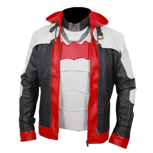 Arkham Knight Game Red Hood Mens Leather Jacket & Vest Halloween Costume