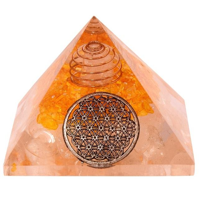 Citrin Clear Quartz Chakra Crown Orgone Pyramid With Chakra Protection : Wholesaler Supply
