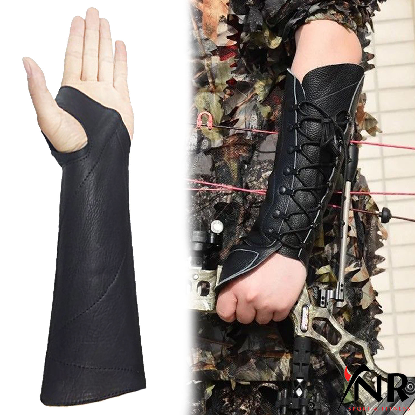 SHOOTING ARM GUARD MADE WITH BLACK COW LEATHER ARCHERY PRODUCTS LEFT HAND