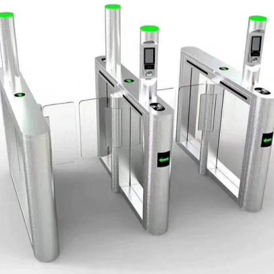 Bank swing barrier turnstile , RFID swing glass turnstile gate for access control system With Double Brushless DC Motor