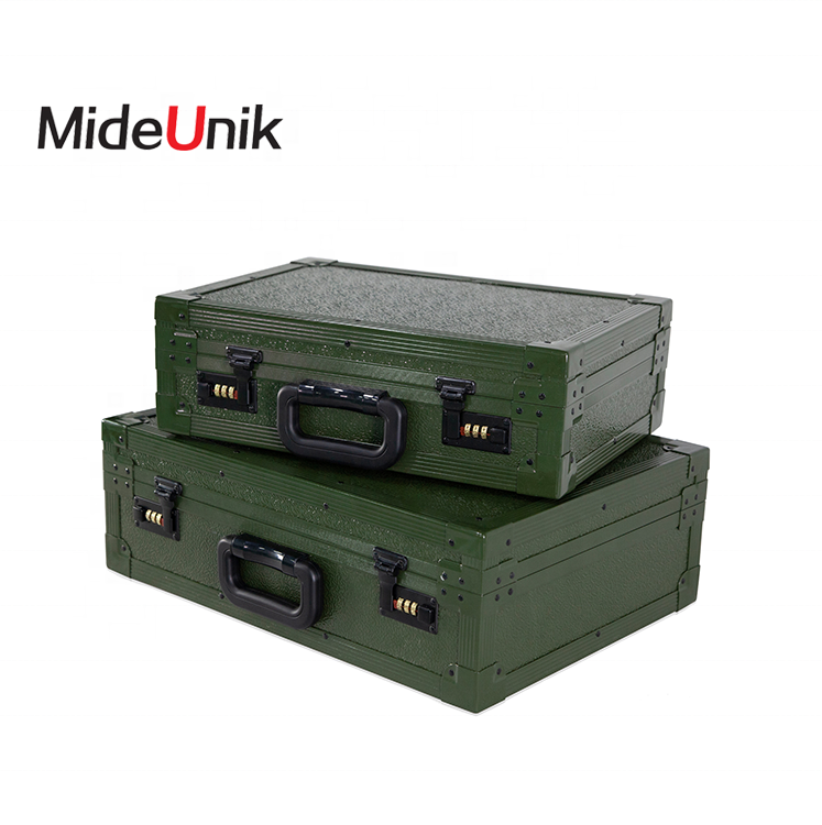Portable military equipment storage army gun carrying wood aluminum case with foam
